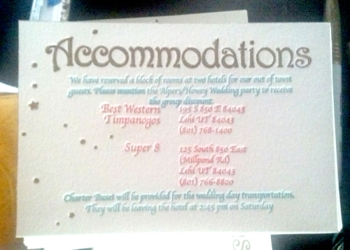 WEdding Stationary Suite Accommodation card for out of town guests