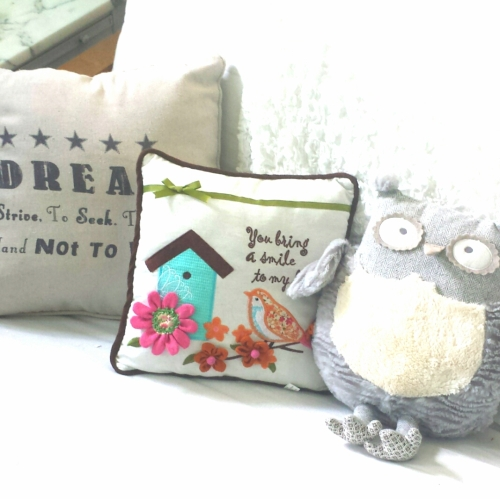 Whimsical pillows are welcoming