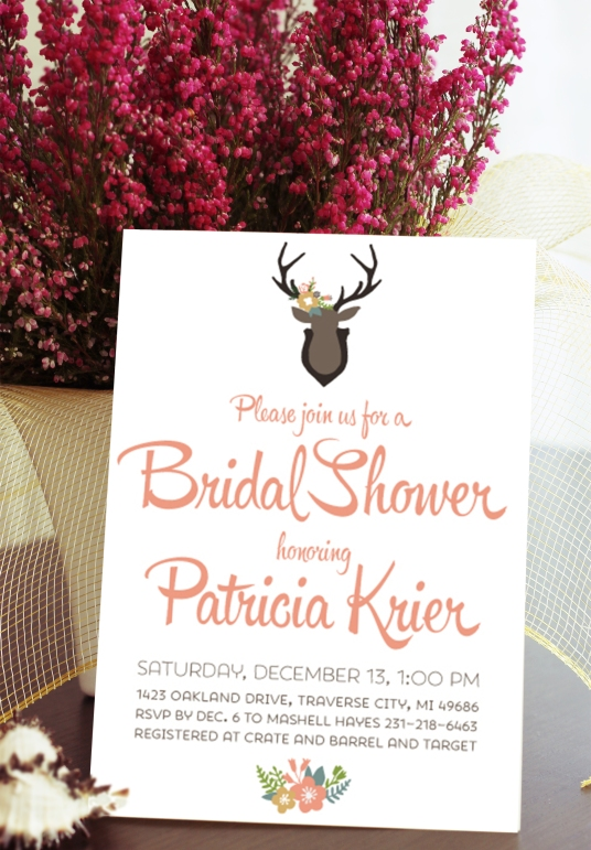 Oh Deer! Whimsical Bridal Shower Invitation Customizable with your wedding colors!
