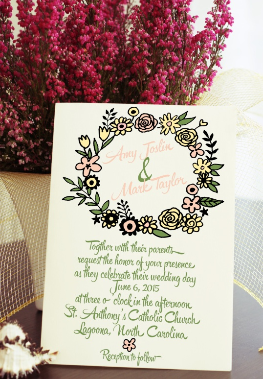 Floral Wreath Wedding Invitation Suite