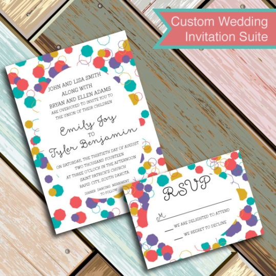 Polygon Colorful Confetti Wedding Invitation Suite